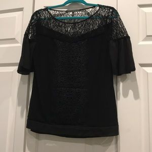 WHBM black lace blouse